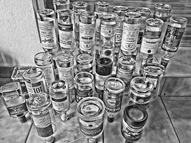 Offener Abend Flaschen leer